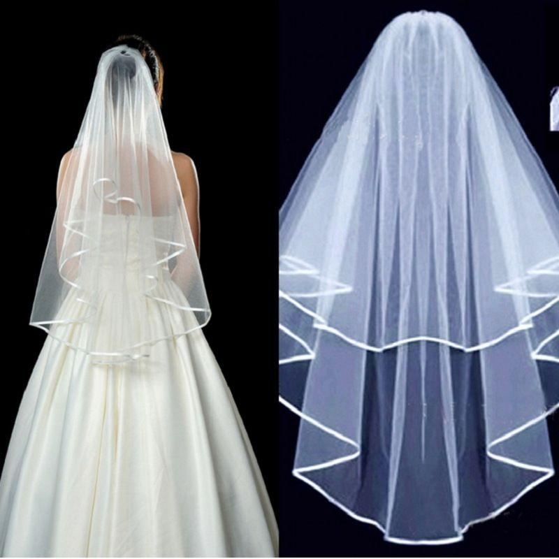 Due strati Tulle breve nuziale Veli 2018 Vendita calda matrimonio poco costoso nuziale accessorio per abiti da sposa economici Tulle da sposa in magazzino