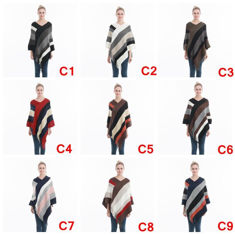 Donne a strisce tassel Poncho maglione maglia sciarpa avvolgente scialle sciolto scialle vintage sciarpe mantello cappotto ragazze inverno caldo cape vestiti AAA1079