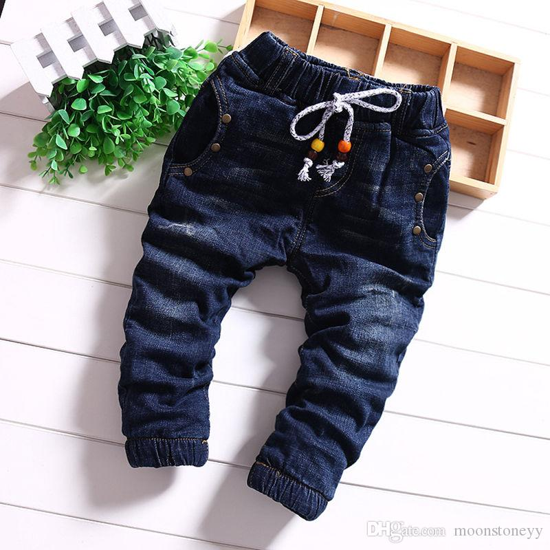New Hot Sale Girls Baby Fashion Casual Trousers Autumn And Winter Models Boys Thickening Plus Velvet Cotton Jeans