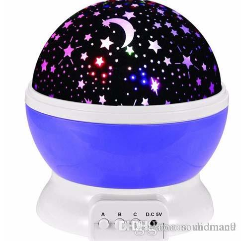 Newest Romantic Room Novelty Night Light Projector Lamp Rotary Flashing Starry Star Moon Sky Star Projector For Children Baby Retailpackage