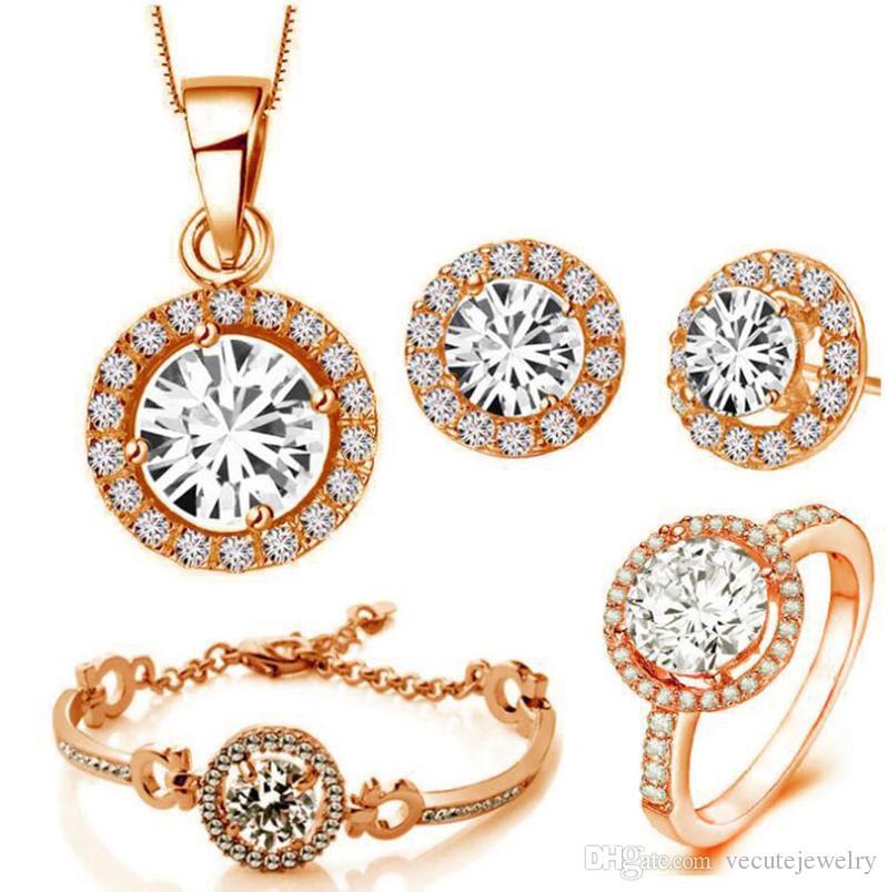 Luxury 18K Rose Gold Plated Shiny Zircon Crystal Necklace Bracelet Earrings Ring Jewelry Set for Women Made With Swarovski Elements 4pcs/Set
