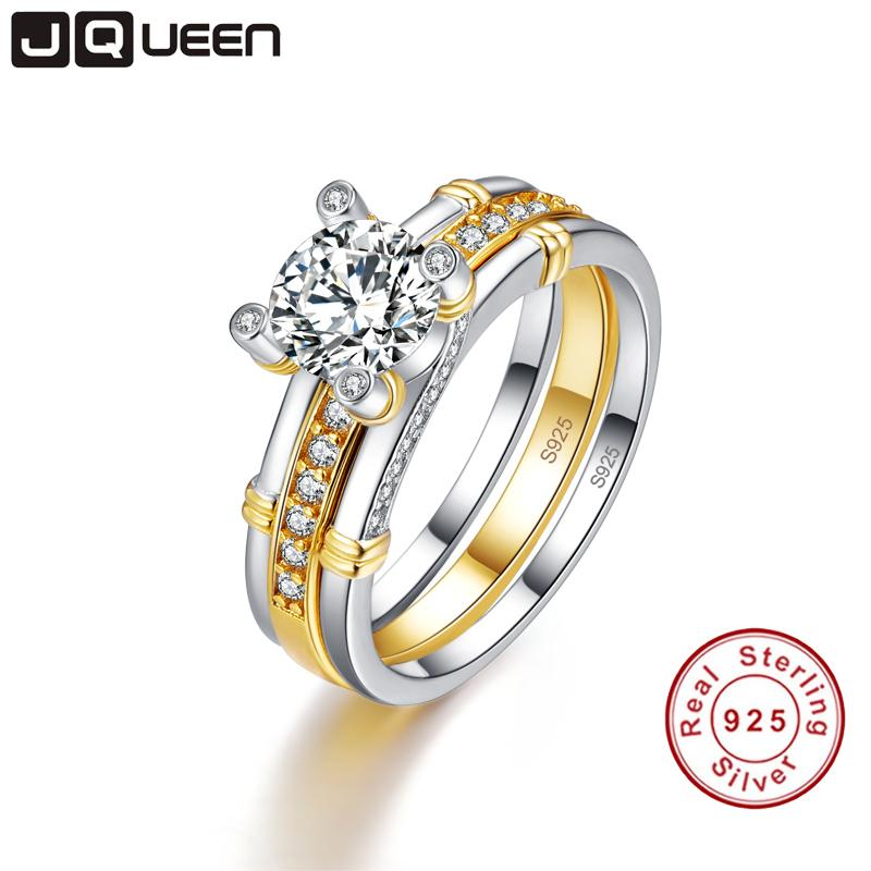 JQUEEN 2pcs/lots 925 Sterling Silver Ring 18k Gold Plated Tail Ring 2.6ct Topaz Real Silver Couple Wedding Rings For Women Y1892607