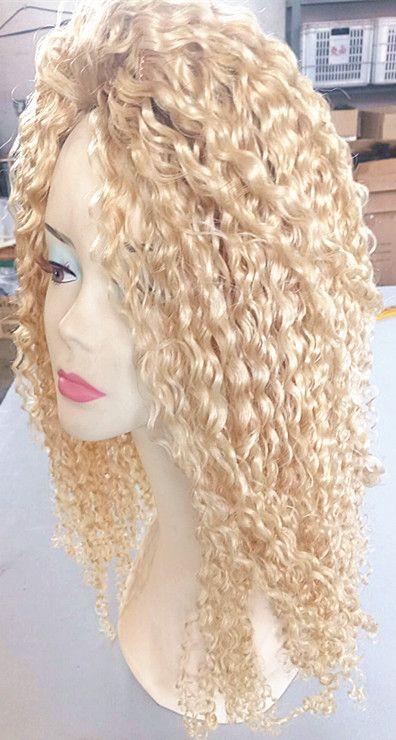 Brésilien Vierge Humaine Remy Blonde Cheveux Crépus Bouclés Trame De Cheveux Doux Double Dessiné Cheveux Extensions Non Transformés Couleur