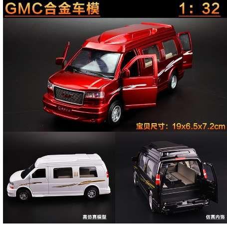 новый мальчик игрушка литой модели автомобиля со звуковым светом рекреационного автомобиля туристический автомобиль подарок для детей 1:32 GMC бизнес-фургон