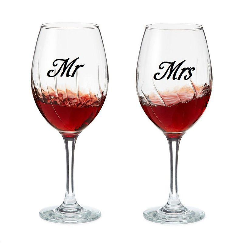 Home & Garden Mr & Mrs Wine glass jar wedding Decal Stickers , wedding gift sticker engagement party present love of 3 pairs