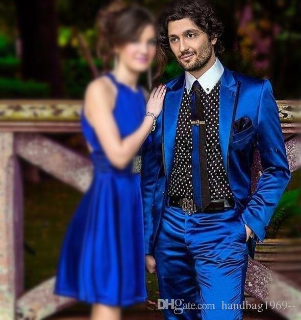 Hohe Qualität One Button Royal Blue Satin Bräutigam Smoking Groomsmen Spitze Revers Best Man Blazer Herren Hochzeit Anzüge (Jacke + Pants + Tie) H: 990