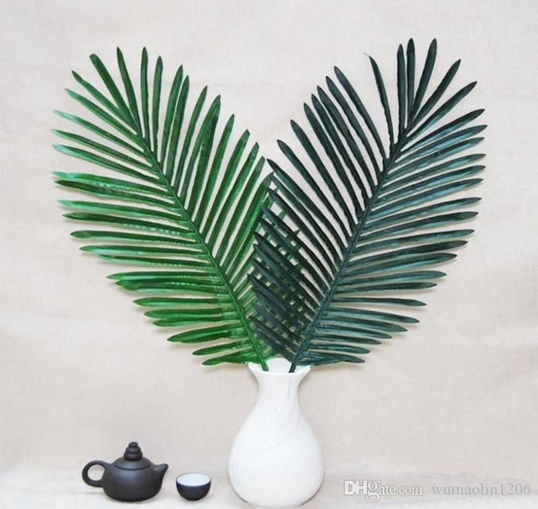 Paquete de 5 hojas de palma 26 pulgadas de plantas artificiales artificiales falsas hojas de una sola palma verde para el hogar Suministros para fiestas de cocina Decoraciones de hojas tropicales