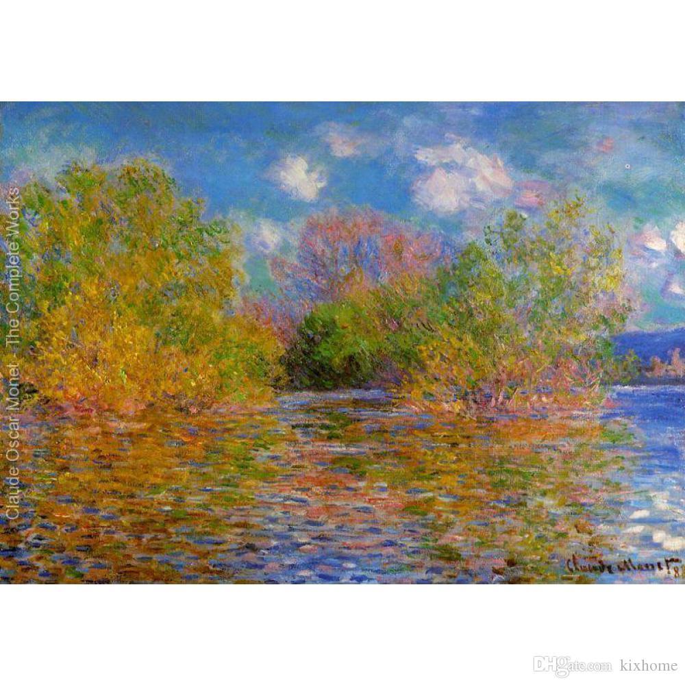Холст искусство картина маслом сена около Giverny3 по Claude Monet impressionist artwork для спальни Декор