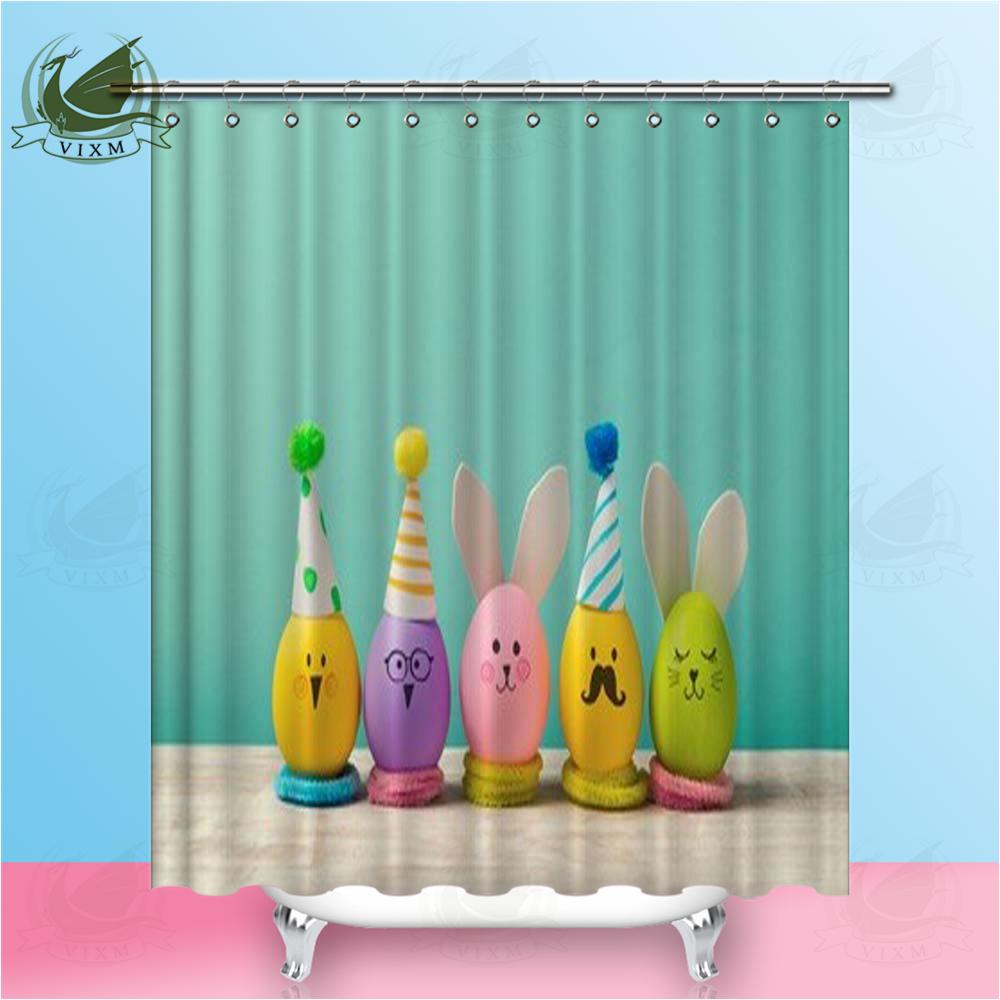 Vixm Easter Holiday With Cute Eggs Bunny Chicks And Party Hats Shower Curtains Polyester Fabric Curtains For Home Decor
