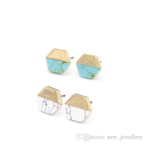 Старинные золотой цвет шестиугольник белый зеленый бирюзовый мрамор серьги натуральный камень серьги ювелирные изделия для женщин