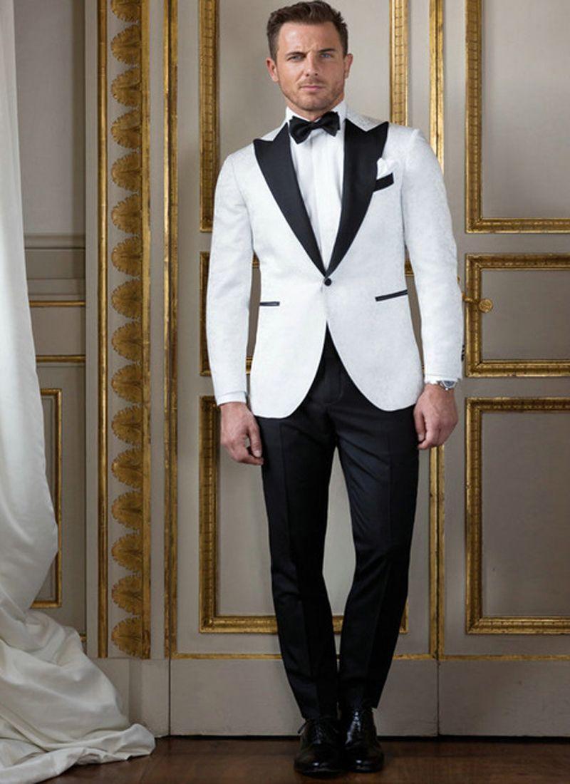 Homens brancos italianos ternos para casamento noivo desgaste casamento smoking noivo se adapta melhor homem 2 peças (jaqueta + calça) slim fit desgaste do baile de finalistas