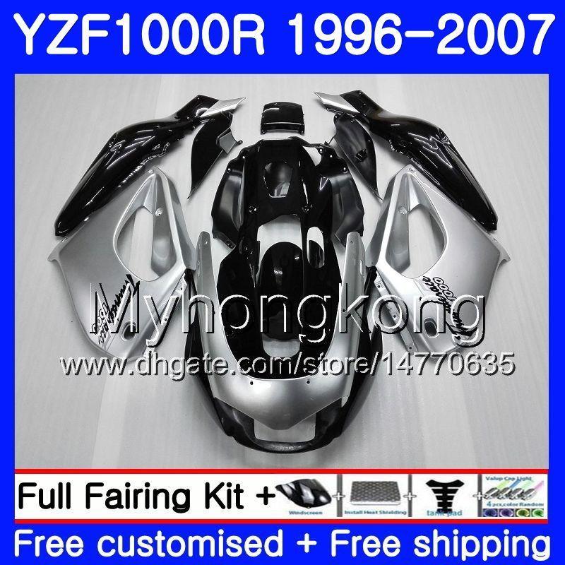 Cuerpo para YAMAHA Thunderace YZF1000R 96 97 98 99 00 01 238HM.0 YZF-1000R YZF 1000R 1996 1997 1998 1999 2000 2001 Carenados Kit Plateado negro