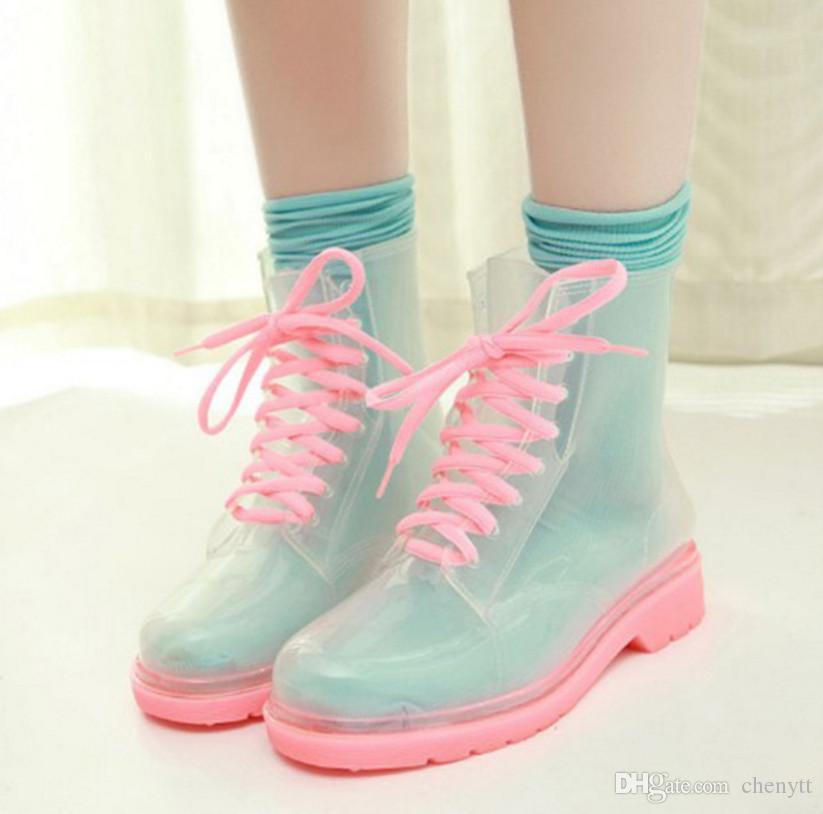 الأزياء الكورية أنبوب قصير أحذية المطر المرأة شفافة هلام مارتن أحذية المطر الأحذية منخفضة للماء الأحذية المطاطية جيل واحد