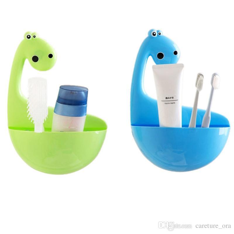 Dinozor Diş Fırçası Sahipleri Karikatür Diş Fırçası Tutucu Standları için Çocuk Banyo Organizatör Boys ve Kızlar için Dinozor Suckers Hiçbir sondaj