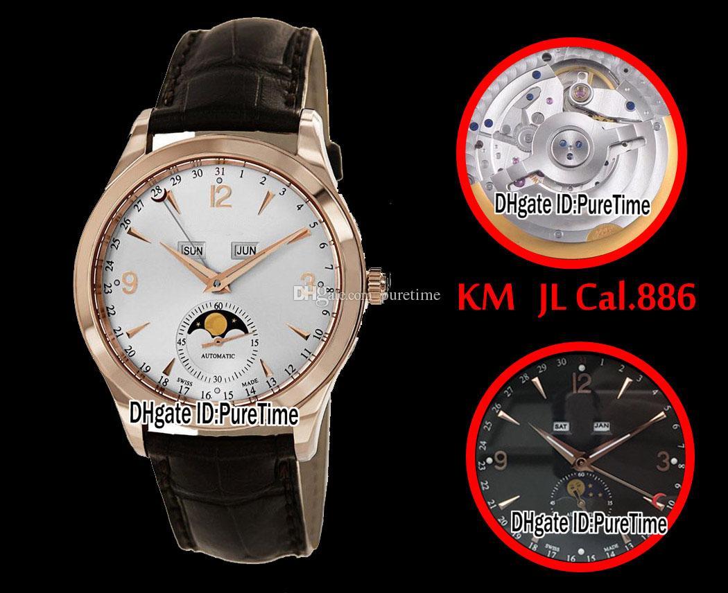 Najlepsza edycja Kminarz Kalendarz 1552520 Rose Gold White Dial Cal.886 Automatyczne męskie Zegarek Brown Leather Purestime (poprawna faza księżyca) JL8