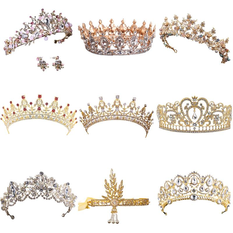 Venta caliente de cristal de oro tiara corona para la boda accesorios para el cabello princesa reina corona de la boda Rhinestones joyería nupcial del pelo