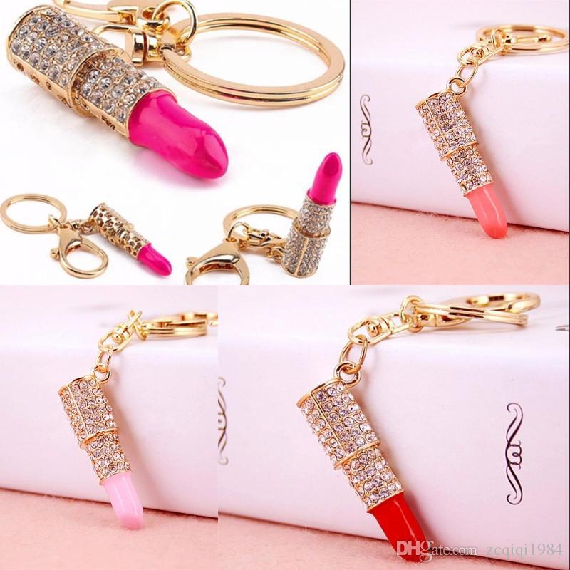 Nuovo arrivo donne portachiavi pendente di rossetto di cristallo strass portachiavi gioielli regali per accessori auto vendita superiore