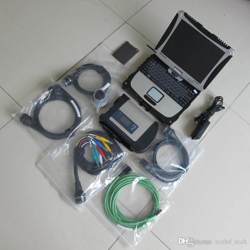 MB STAR C4 Ordinateur portable Compact 4 SD Connectez-vous avec SSD Super V2021.03 CF19 Diagnostics de l'ordinateur CAMIONS 12V 24V