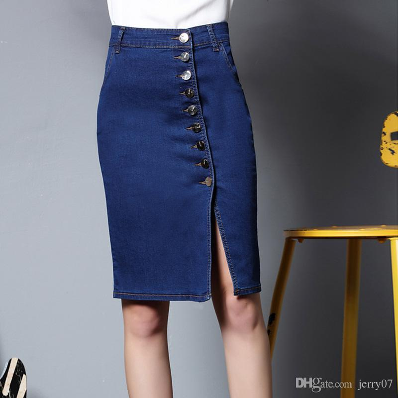 newest collection so cheap on feet shots of 2019 2018 Spring New Arrival 6XL Plus Size Casual Denim Skir Women Vintage  Ripped Denim Skirt Office Style S Kirt Sexy Pencil Skirt From Jerry07, ...