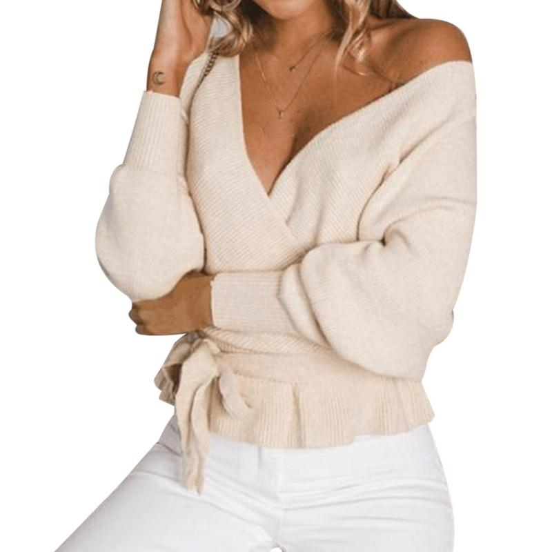 wholesale Female Pullover 2018 Autumn Casual Sexy Backless Knitted Sweater V Neck Cross Sweater For Women Fashion Long Sleeve
