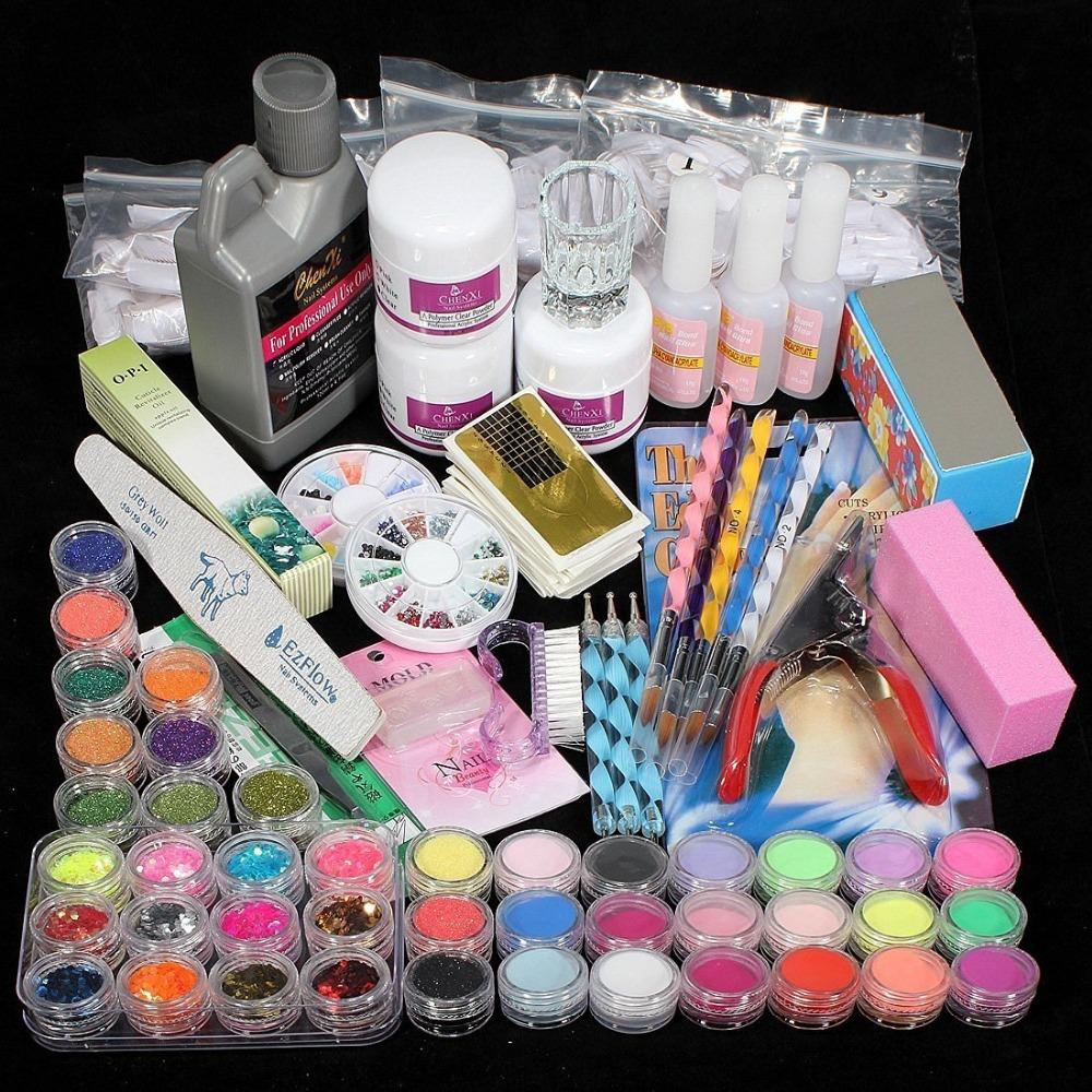 Alta Qualidade Acrílico Nail Art Tips Pó Líquido escova Glitter Clipper Primer Set Arquivo