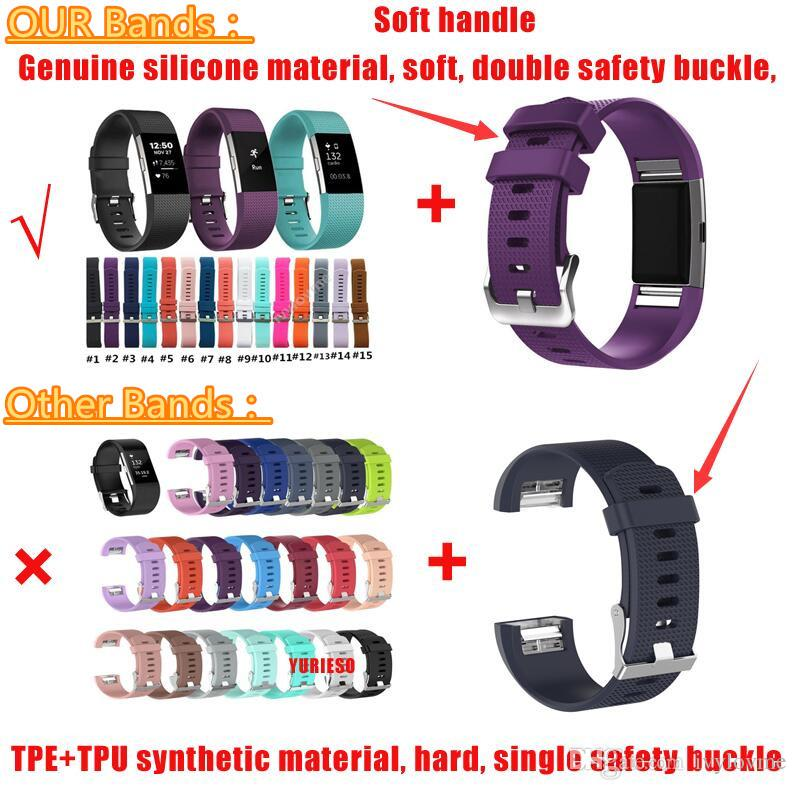 Il prezzo più basso Per Fitbit Charge 2 Heart Rate Smart Wristband Braccialetto Cinturino da indossare per Fitbit Charge 2 Band di ricambio in silicone