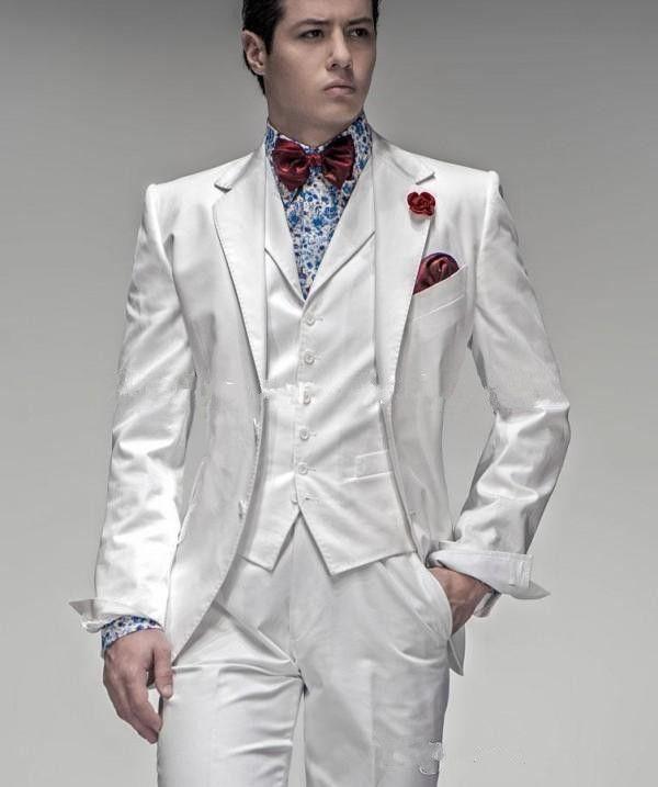 New Hot Sale Two Buttons White Groom Tuxedos Notch Lapel Groomsmen Best Man Mens Wedding Suits Prom Suit (Jacket+Pants+Vest+Tie) 691