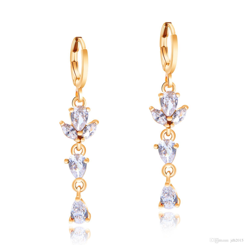 Boucles d'oreilles pendantes de mariage en zirconium avec larmes en zircon en forme de poire