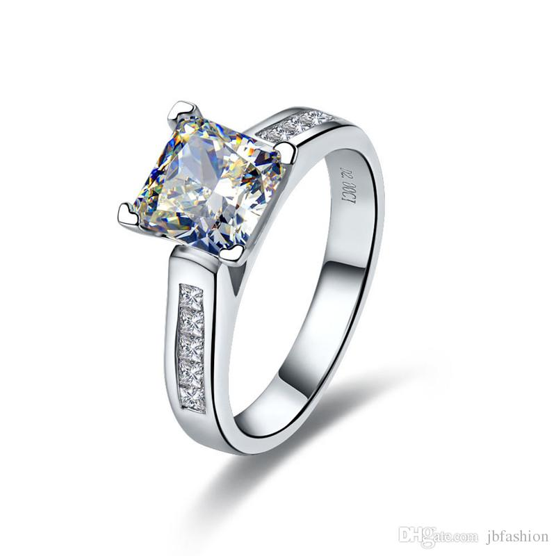 Halo 2 CT Princess Cut Synthetic Diamond Engagement Ring Solid 925 Sterling Silver Wedding Finger Rings for Women Platinum Plated Jewelry