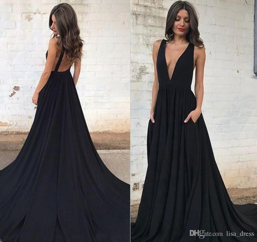 Hot Plongeant col en V noir Robes de bal Une ligne manches sexy dos ouvert partie longue Robes de soirée Robes de vacances New