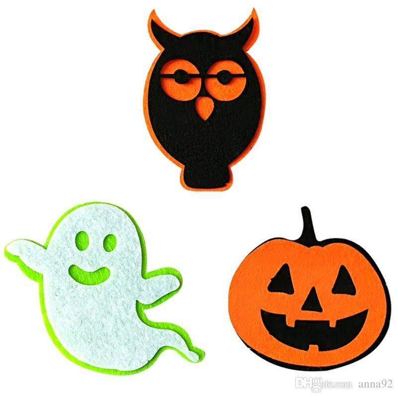 Halloween Decoration Non-woven Fabric Pumpkin Ghost Animal Patches Sticker for Home School Party Supplies free shipping 2018 new hot sale