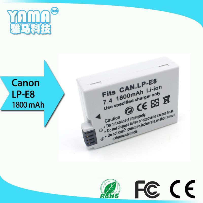 Batterie de l'appareil photo numérique de haute qualité 1800mAh pour Canon Lp-E8 Lpe8 Canon EOS 550D EOS 600D EOS 650D