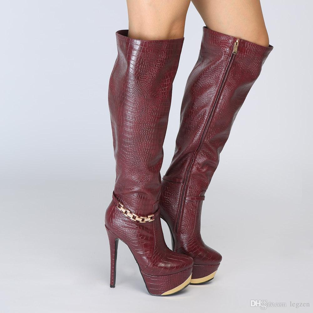 promotion discount coupon best quality Legzen New Fashion Women'S Knee High Boots Beautiful Platform Thin High  Heels Boots Fashion Burgundy Shoes Woman Plus Size Heels Boot From Legzen,  ...