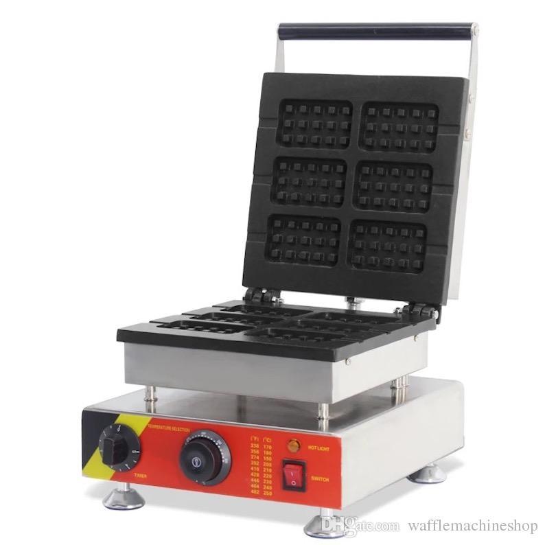 NP-506 Ticari 6 adet Kare Waffle Makinesi 6-sac Kafes Waffle Fırın Elektrikli Waffle Yapma Makinesi Çörekler Ekipman Snack Ekipmanları