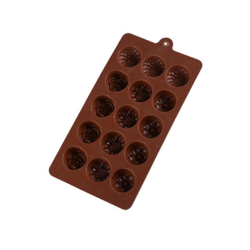 CORATED الشوكولاته قوالب 15 حتى 4 نمط الزهور سيليكون قالب البسكويت فندان أدوات الخبز كعكة تزيين علبة مكعبات الثلج