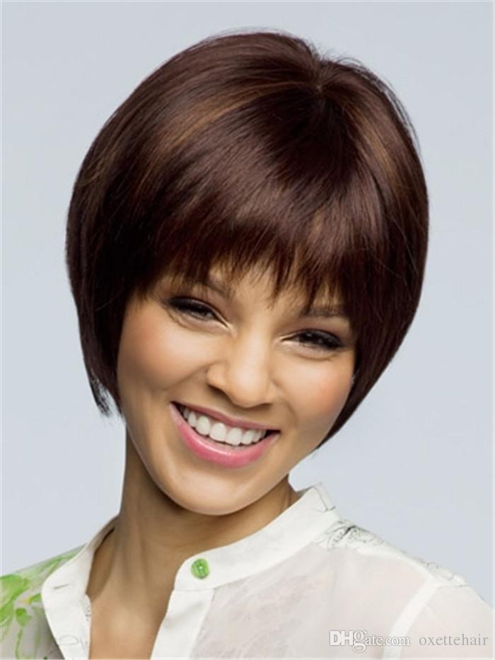 peluca de pelo corto y marrón oscuro con flequillo Peluca de moda sin tapa peluca sintética de fibra resistente al calor para mujeres