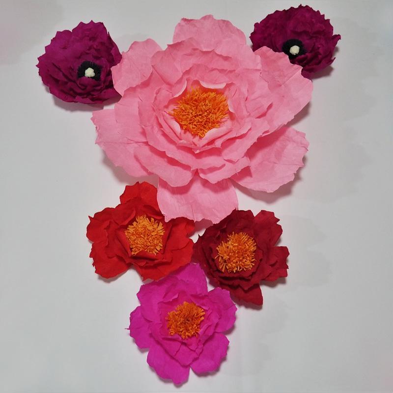 Dev Krep Kağıt Yapay Çiçekler 6 ADET Düğün Olay Dekor Bebek Kreş Windows Ekran El Yapımı El Sanatları Özel 20-50 CM