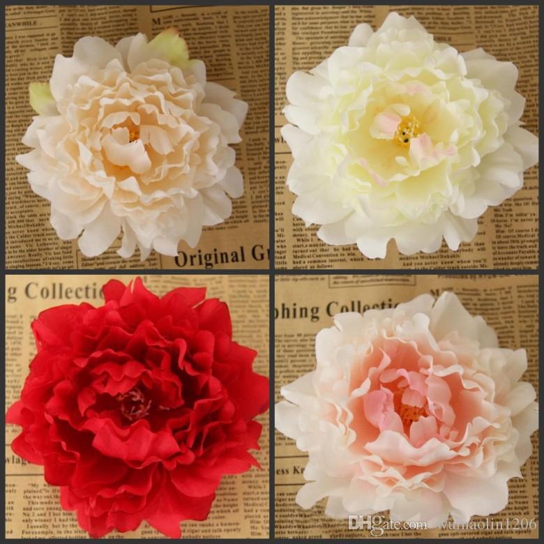 Nuevas flores artificiales de seda peonía cabezas de flores del partido de la boda decoración suministros simulación cabeza de flor falsa decoración para el hogar 12 cm