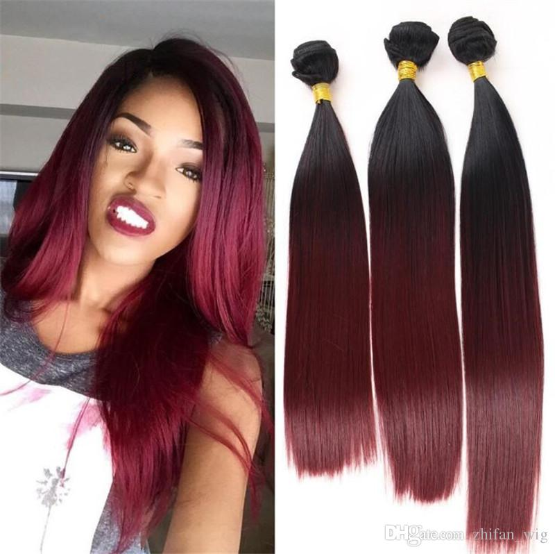 ZhiFan ombre hair bundles closures sets straight ombre hair extensions burgundy synthetic bundle hair 16/1820 inch set
