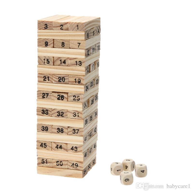 اللبنات الخشبية الدومينو لعب برج الخشب لعبة 54 قطع + 4 قطع مكدس استخراج ألعاب تعليمية للأطفال الدومينو لعبة اللعب
