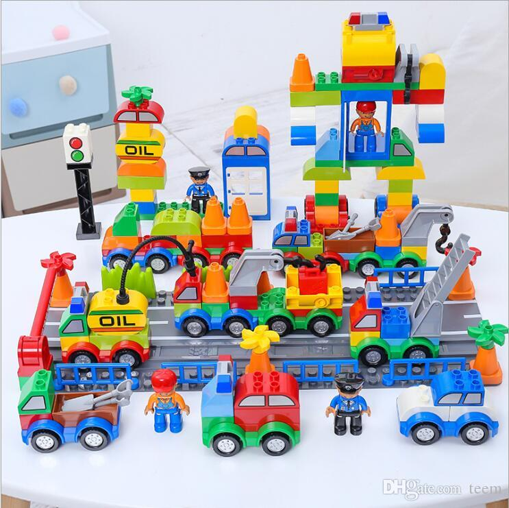 صندوق الرقمية DHL بناء كتل البلاستيك 106 قطار الرقمي أطفال سيارة لعب الأطفال لعبة الطوب التعليمية الاستخبارات الآمن البيئة