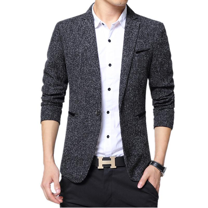2018 Primavera Otoño Moda Tendencia Hombres Delgado solo botón de manga larga pequeño traje de lana Chaqueta / Hombre de negocios Casual Blazers Coat D18101001