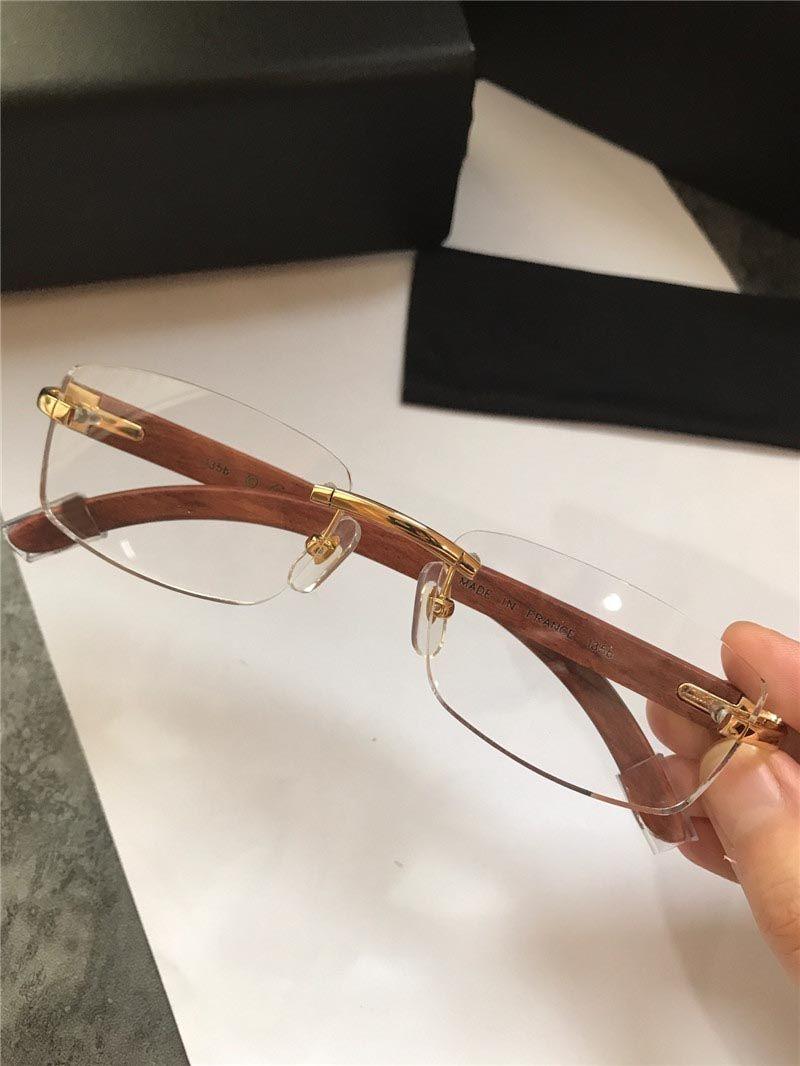 all'ingrosso nuovi occhiali fashion design senza cornice ottica retrò trasparente gambe in legno obiettivo di qualità superiore semplice stile di business