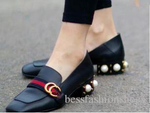 Frauen kleiden Pumpen Frühling Herbst Freizeitschuhe Wohnungen Fersen klobige Fersen med Perle Schuhe Damenmode Marke Schuhe Leder Slip auf atmungsaktiv