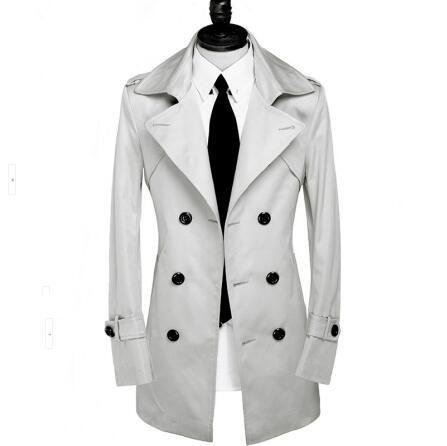 Großhandel Graue Mittel Lange Dünne Trenchcoat Männer Zweireihig Mantel Langarm Herrenmode Mode Frühjahr Herbst Plus Größe S 9XL Von Southj, $99.87