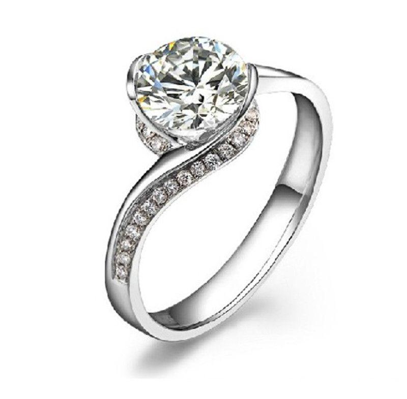 Top Calidad 0.8ct Flow Flower Anillos de boda para mujeres Joyas de diamante sintéticas 925 Anillo de compromiso plateado de oro blanco plateado