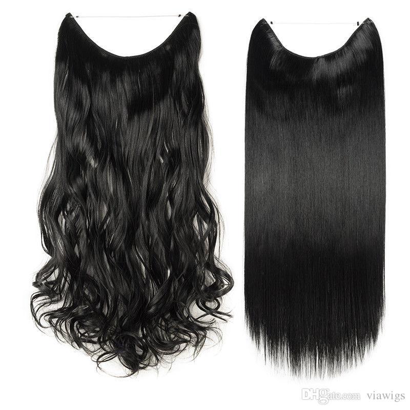 Выдвижения волос длинний реальный прямой курчавый зажим держателя провода в выдвижениях волос как человеческие волосы 90g-120g