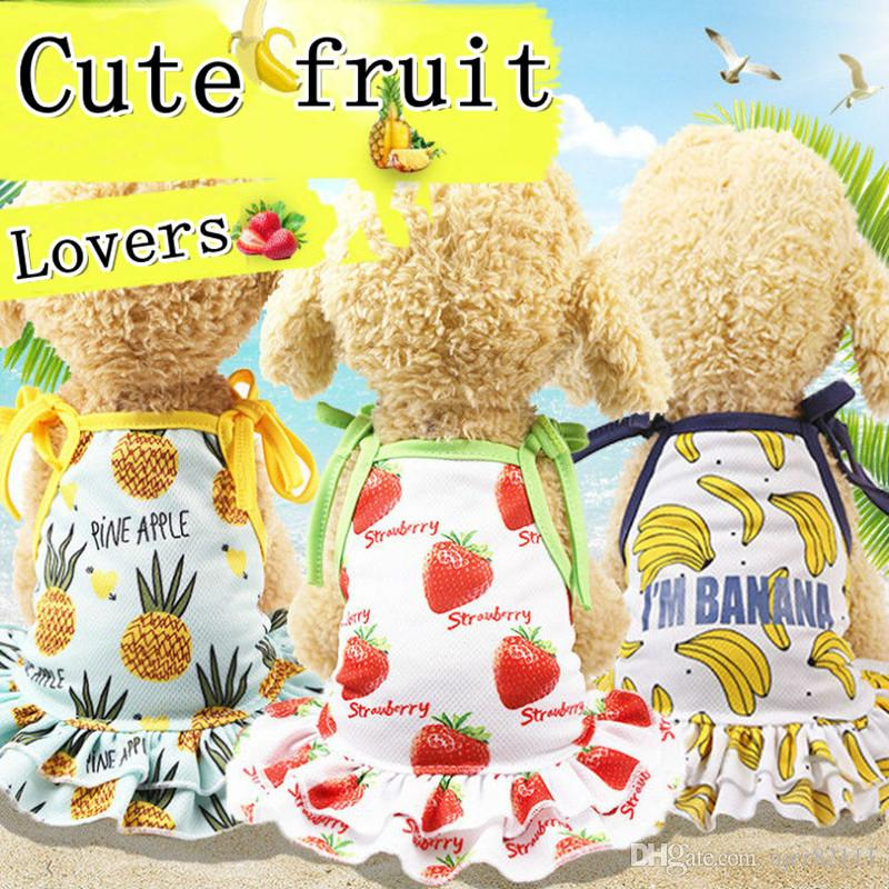 pineapple,Strawberry Pet spring and summer skirt banana skirt vest couple models pet dog clothes cat clothes new