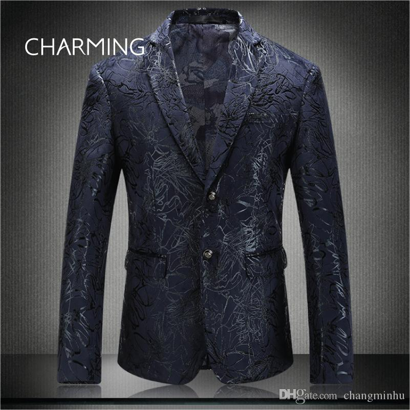 Mens navy blue suit High quality jacquard fabric pattern embossed production Fit singer mens suit design official suits for gents