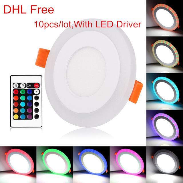 Белый + RGB LED Panel Light 6W/9w/18w / 24W встраиваемый потолочный светильник 3 модели акриловая панельная лампа с пультом дистанционного управления AC85-265V